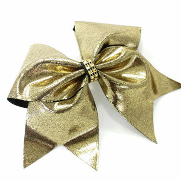 Cheer bow, Gold on black cheer bow, cheerleading bow, cheerleader bow, cheerbow, softball bow, pop warner cheer bow, dance bow