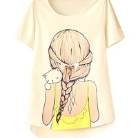 Womens Casual Slim Fit Little Girl Print Round Neck T-Shirt