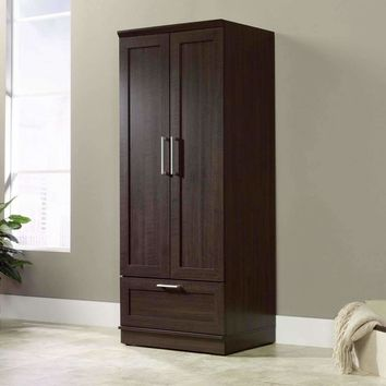 Dark Brown Wood Wardrobe Cabinet Armoire