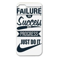 Success in Progress Just Do It NIKE Quote PC Hard Plastic Apple iPhone 5 5s Case Back Cover,Hot iPhone 5 5s Case at Surprise you Store