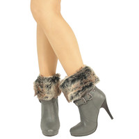 Womens Ankle Boots Faux Fur Foldover Cuff High Heels Gray