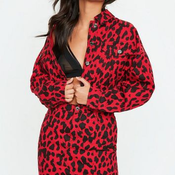 Missguided - Red Leopard Print Boxy Denim Jacket