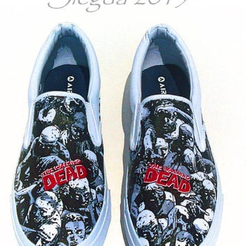 The Walking Dead Zombie Horde Mens Shoe- Geek Shoes- Slip on Shoes- Comic Con- Fanboy
