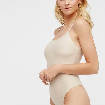 Free People Metallic Low Back Bodysuit