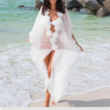 Floral Crochet Chiffon Women Loose Bathing Suit Cover Up