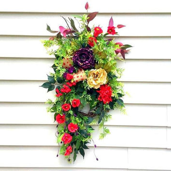 Summer wreath, Fall wreath, front door swag, teardrop swag, everyday wreath, vertical swag, peony wreath, shabby chic, farmhouse wreath