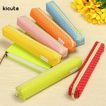 1x Cute Polka Dot Candy Color Pencil/Pen Case