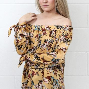 Brush It Off Shoulder Silk Trapeze Blouse {Dijon Mix}