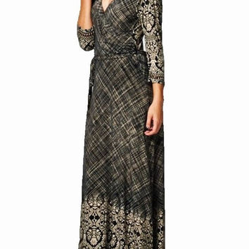 Eliza Bella for Tua Maxi Dress Boho Hippie Damask Print Faux Wrap Bodice S,M,L