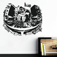 ik1317 Wall Decal Sticker DJ electronic music techno bedroom living room recording studio