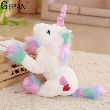 1PC 50*40cm White Unicorn Plush Toys low Price Stuffed Animal Soft Doll Home Decor Children Photo Props Birthday Gift For Kids