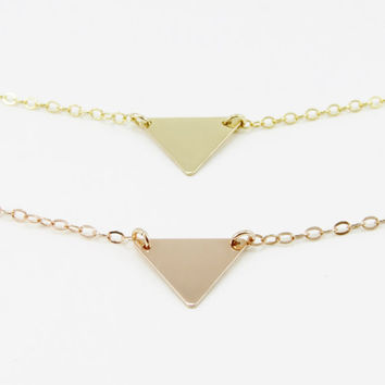 Tiny Triangle Necklace, Geometric Triangle Necklace, Gold Triangle Necklace, Gold, Rose Gold or Sterling Silver, Geometric Jewelry
