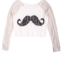 Sequin Mustache Long-Sleeve Tee
