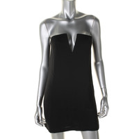 BCBG Max Azria Womens Nahara Crepe Split Neck Clubwear Dress