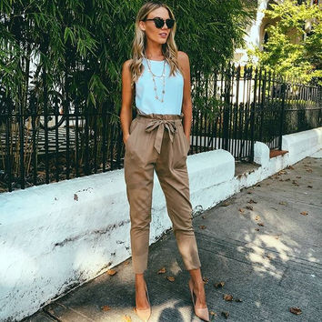 BeAvant OL chiffon high waist harem bow pants Women stringyselvedge summer style casual pants female 2016 New black trousers