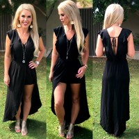 Making a Point Maxi Romper: Black
