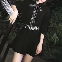 """Chanel"" Women Simple Fashion Letter Ribbon Bow Long Sleeve Shirt High Waist Short Skirt Set Two-Piece"
