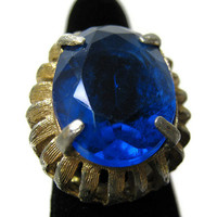 Gold Tone Large Chunky Adjustable Vintage Blue Ring