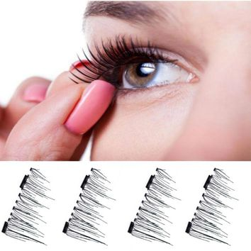 New Arrival 1 Pair Soft Natural 3D Magnetic False Eyelashes Makeup Mink Magnetic Fake Eyelashes Extension Handmade