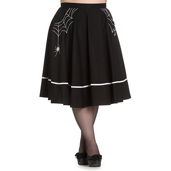 Goth Night Spiderweb and Spider Miss Muffet Flare Skirt in Black