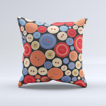 Colored Vector Buttons ink-Fuzed Decorative Throw Pillow