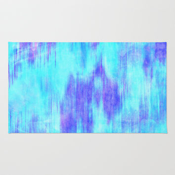 Ocean Blur - Abstract in Mint, Purple, & Royal Blue Area & Throw Rug by TigaTiga Artworks