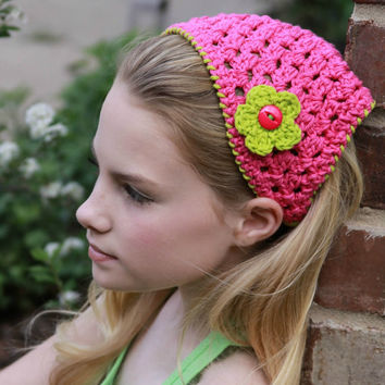 Summer Fashion Kerchief Tween Headband Hot Pink and Lime Green 2013 Trends