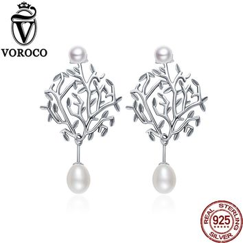 VOROCO 2017 Authentic 925 Sterling Silver White Real Double Pearls Wishing Tree Drop Earrings for Women Wedding Jewelry VSE085