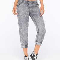 Full Tilt Acid Wash Womens Cropped Jogger Pants Black  In Sizes