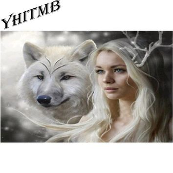 diy 5d diamond painting embroidery beauty and beast snow wolf animals winter landscape cross stitch kits mosaic canvas picture
