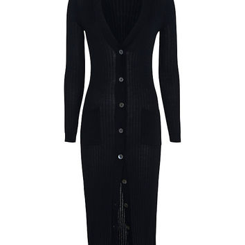 Autumn Cashmere Ribbed Maxi Cardi: Navy at INTERMIX | Shop Now | Shop IntermixOnline.com