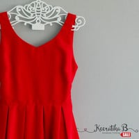 SALE - Simply spring summer sundress Red dress Bow tie waist dress Pleated party dress Tea Dress Small