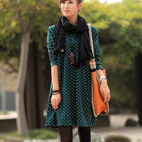 2/3 color / Dark green Skirt/ Long Skirt/ One-piece Dress/ Barrel Skirt/ Cotton skirt/ colorful skirt
