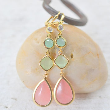 Long Jewel Earrings in Coral Pink, Mint, and Aqua.  Bridesmaid Earrings. Gem Dangle Earrings.  Modern Fashion Earrings.