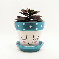 Succulent Planter, Terracotta Pot, Cute Face Planter, Air Plant Holder, Plant Pot, Flower Pot, Indoor Planter, Turquoise Planter, Blue Pot