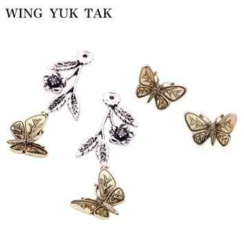 WingYukTak New Fashion Vintage Gold Color 3D Butterfly Metal Flower Studs Earrings For Women Bijoux Factory Wholesale
