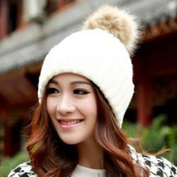 Fuzzy Ball Design Knitted Winter Hat
