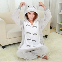 winter onsie Cartoon totoro Onesuit adult animal Onesuits flannel animal pajamas one piece cosplay totoro Onesuit pajamas mujer