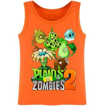 Children T Shirts Plants vs Zombies 2 Boys Clothing PVZ Cartoon Game Pattern Boys Clothes Tops Sleeveless Waistcoat DC856