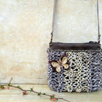Beige leather crossbody bag with leather butterfly, beige leather purse pouch bag, boho purse, crossbody purse