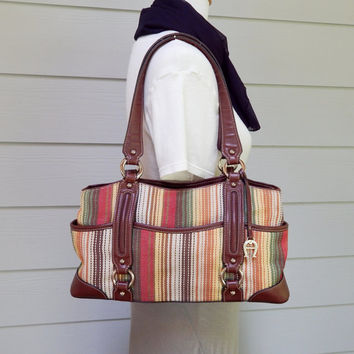 Vintage Etienne Aigner Purse, Double Handle, Striped Fabric with Leather Trim