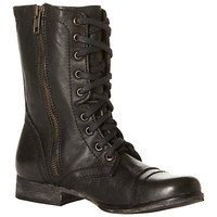 Buy Steve Madden Troopa Leather Lace-Up Combat Boots, Black online at JohnLewis.com