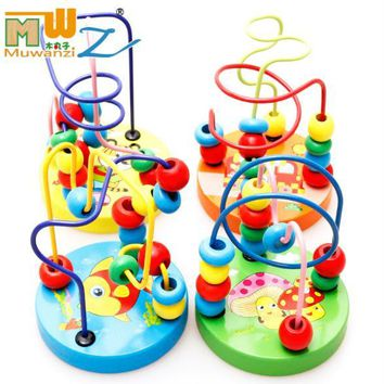 Baby Kids Colorful Wooden Mini Around Beads Wire Maze Children Educational Learning Montessori Game Blocks Math Toy