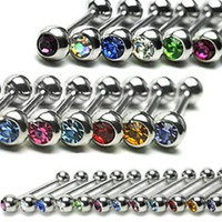 Coolrunner Lot of 12 Tongue Rings Barbell Cz Crystal Assorted Color Surgical Steel 14g Piercing Barbells Kit