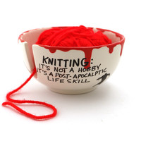 Zombie apocalypse yarn bowl, walking dead, knit bowl, small, ceramic yarn bowl,funny gift for knitter