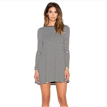 Women's Fashion Knit Stripes Slim Long Sleeve One Piece Dress [6339084097]