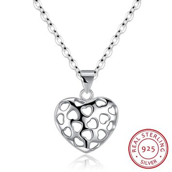 925 Silver Necklace Heart-Shaped Hollow Necklace