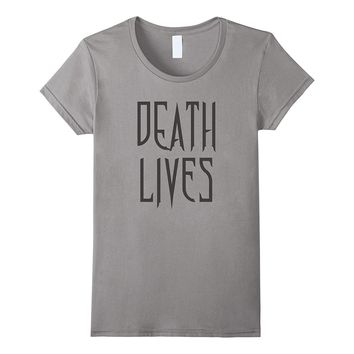 Death Lives Gothic Printed Graphic Text T-Shirt