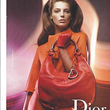 --Magazine PRINT AD-- With Daria Werbowy For 2008 Dior Red Handbags
