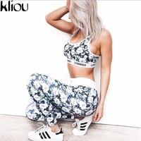 Kliou 2017 fashion women casual fitness STRONGER letter flower print cropped tops tanks and legging pants two pieces sets suits